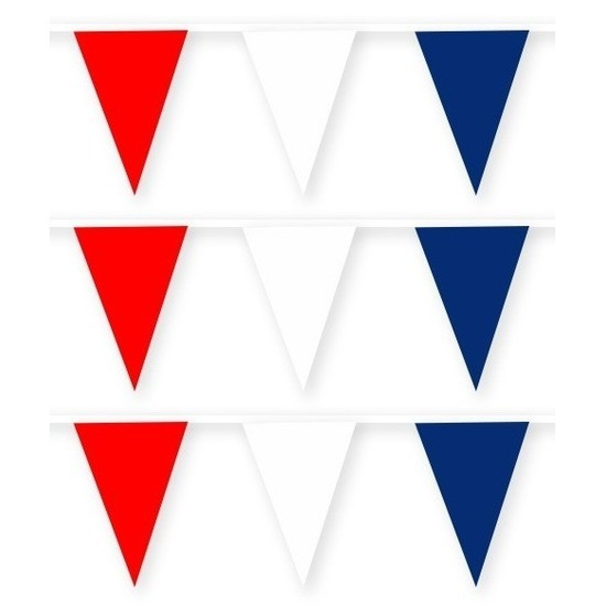 3x Amerika/USA stoffen vlaggenlijnen/slingers 10 meter katoen
