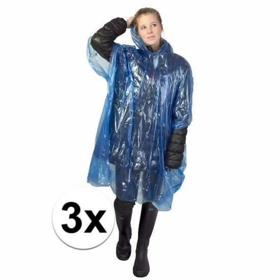 3x blauwe poncho met capuchon voor volwassenen