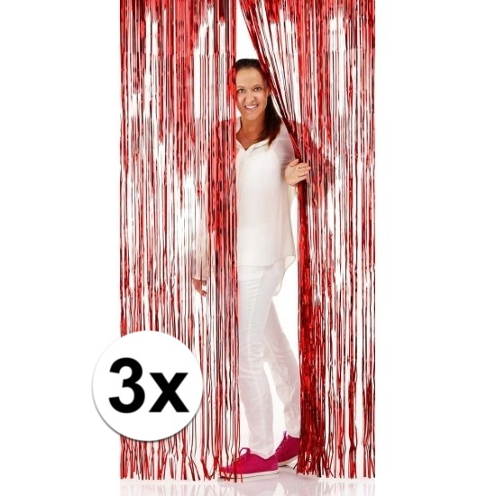 3x Disco folie deurgordijnen rood