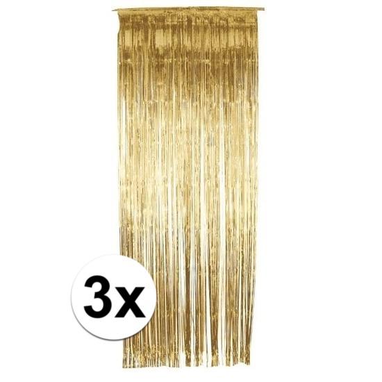 3x folie gordijn in het goud