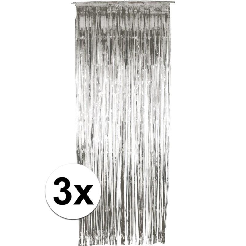 3x folie gordijn in het zilver