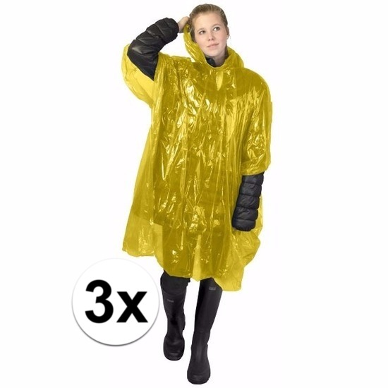 3x gele poncho met capuchon voor volwassenen