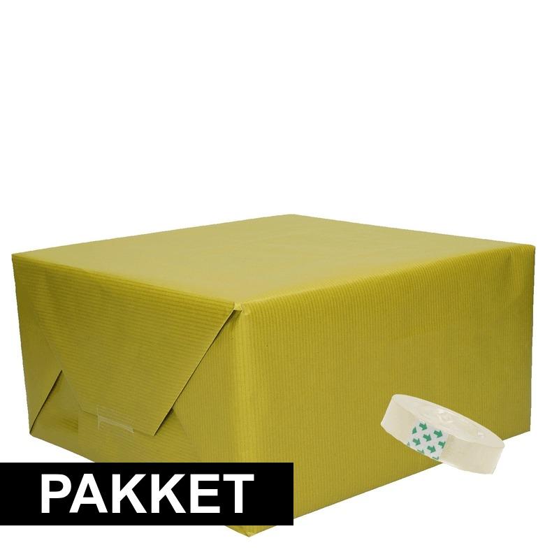 3x Groen kraft inpakpapier met rolletje plakband pakket 6