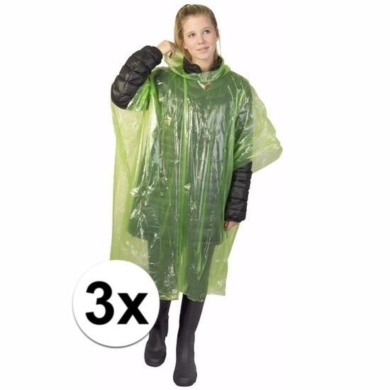3x groene poncho met capuchon voor volwassenen