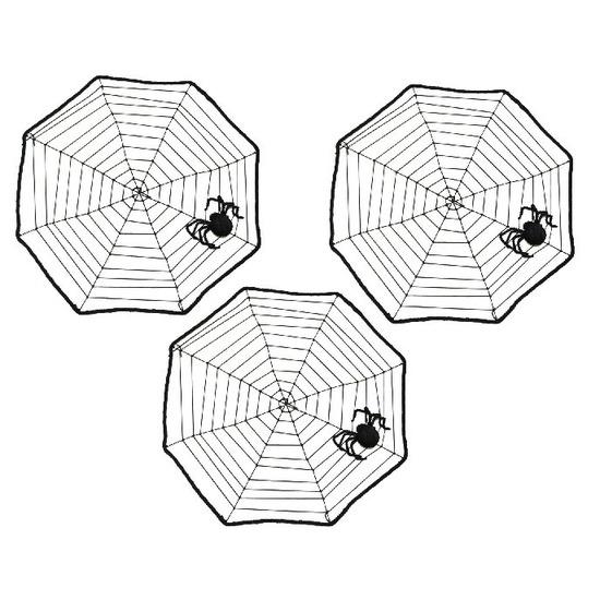 3x Halloween spinnenwebben 40 x 40 cm