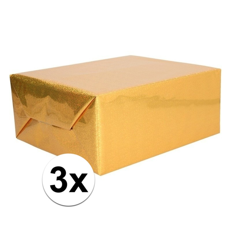 3x Holografische goud metallic folie - inpakpapier 70 x 150 cm