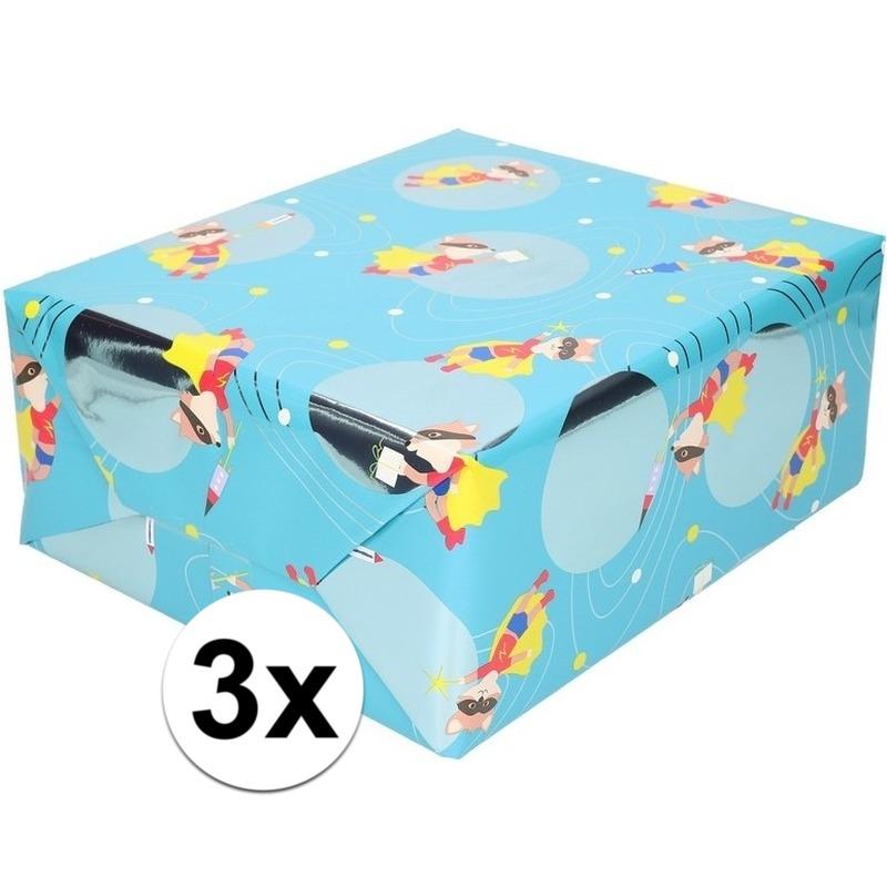 3x Inpakpapier/cadeaupapier blauw vos met masker 200 x 70 cm rol