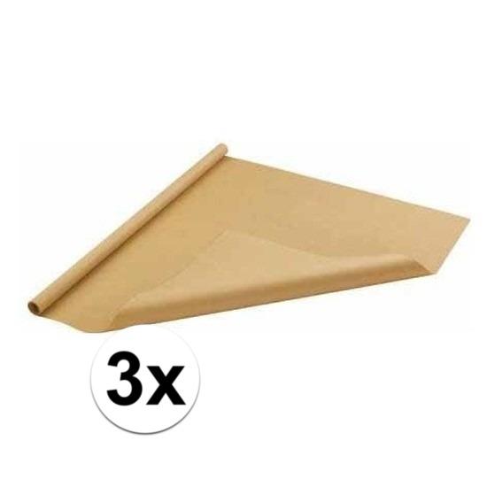 3x Inpakpapier/cadeaupapier bruin 500 x 70 cm op rol