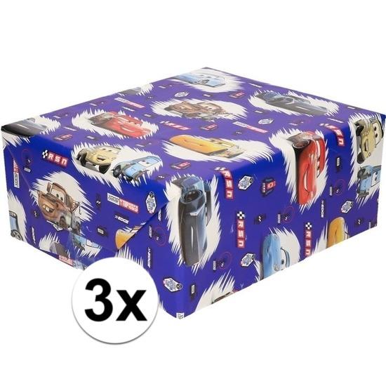 3x Inpakpapier/cadeaupapier Disney Cars 200 x 70 cm blauw