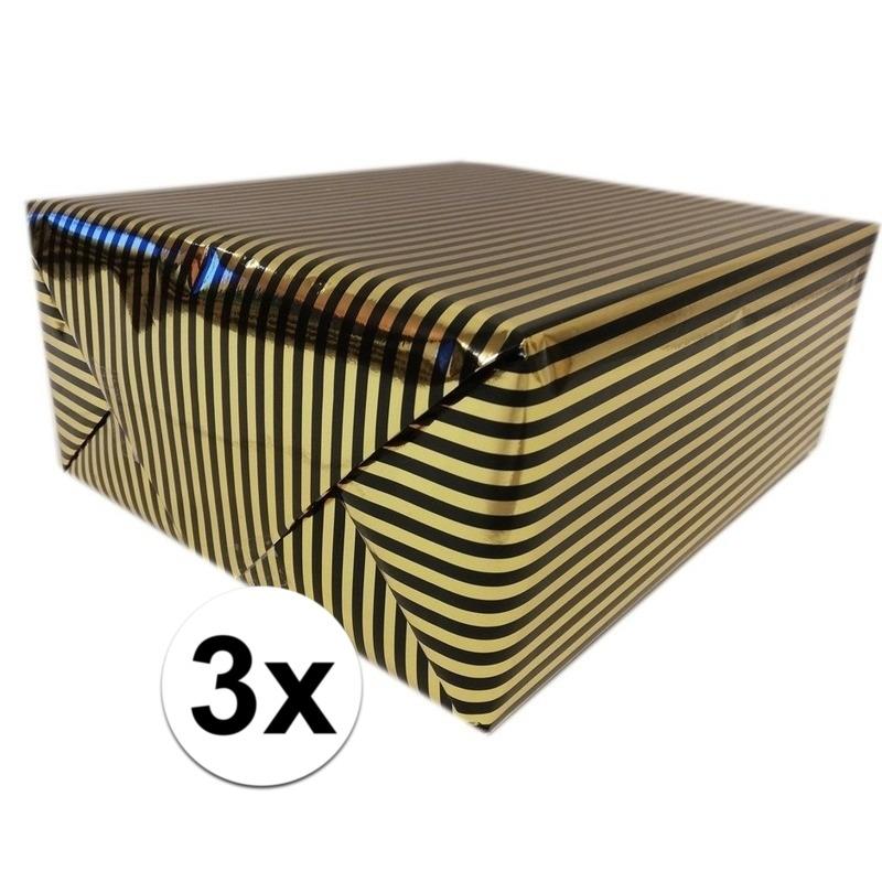 3x Inpakpapier/cadeaupapier metallic goud/zwart 150 x 70 cm