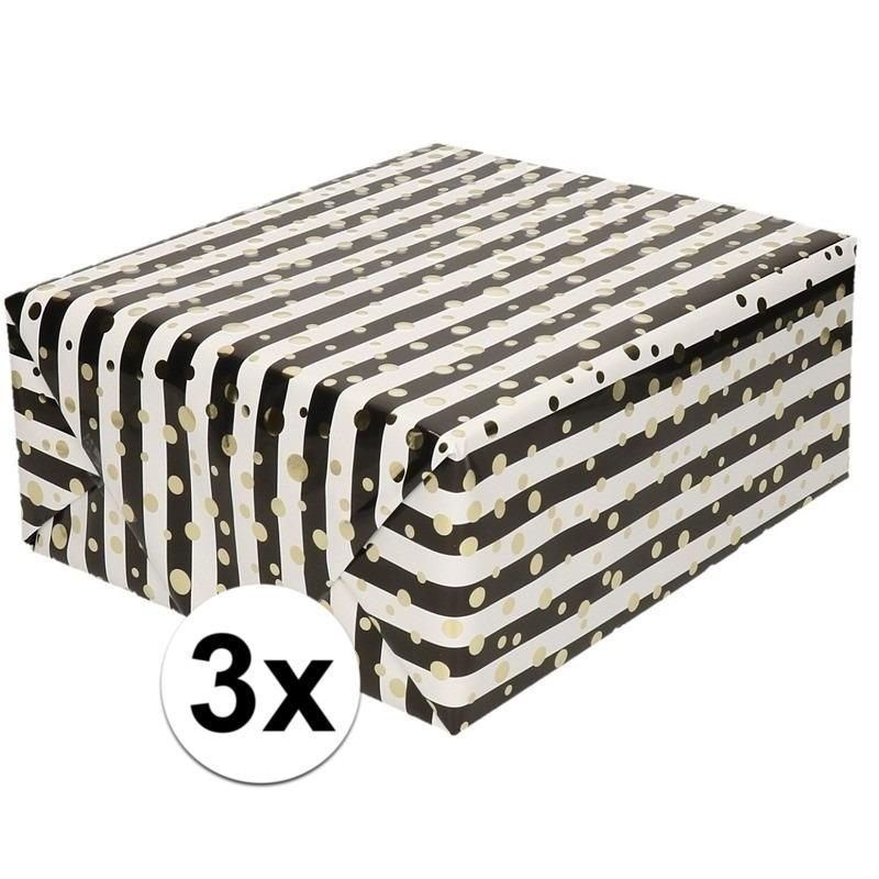 3x Inpakpapier/cadeaupapier metallic goud/zwart/wit 150 x 70 cm