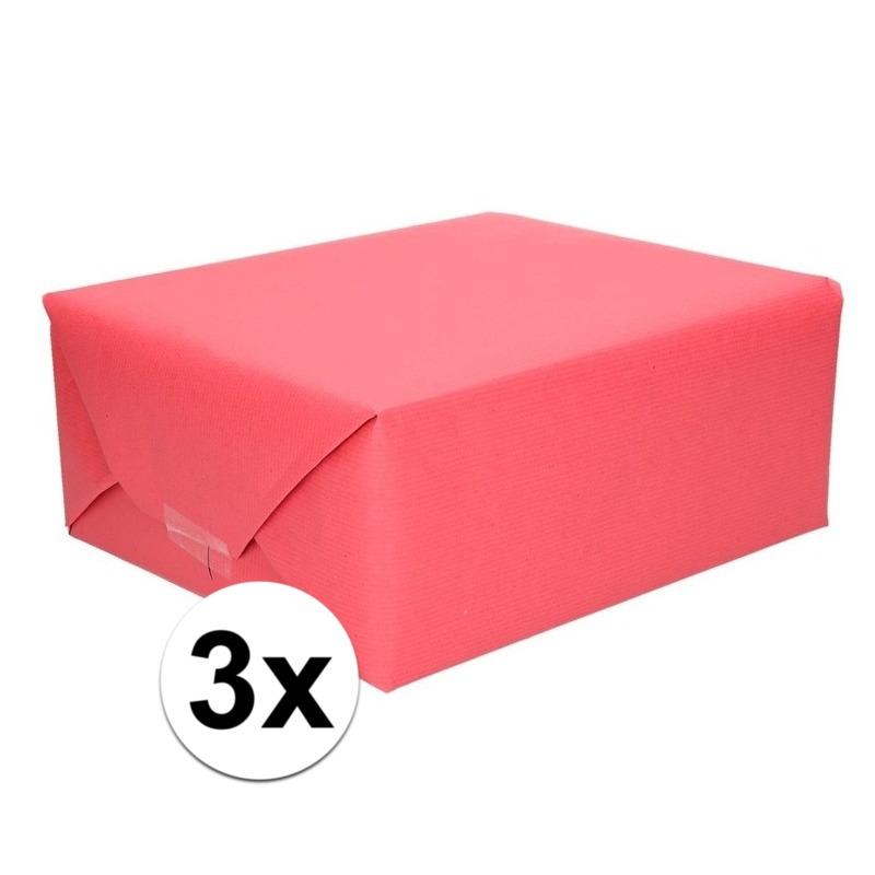 3x Inpakpapier/cadeaupapier rood kraftpapier 200 x 70 cm rollen