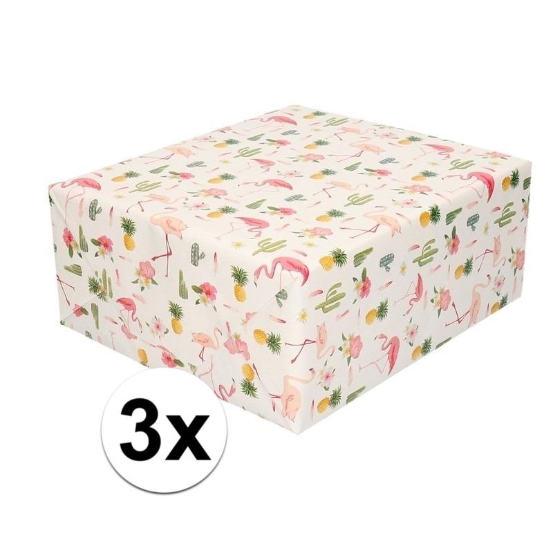 3x Inpakpapier/cadeaupapier roze flamingos 200 x 70 cm