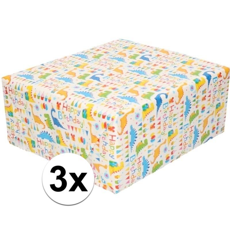 3x Inpakpapier/cadeaupapier wit met Happy Birthday 200 x 70 cm