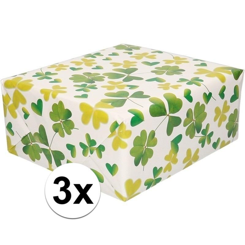 3x Inpakpapier/cadeaupapier wit met klavertjes 200 x 70 cm