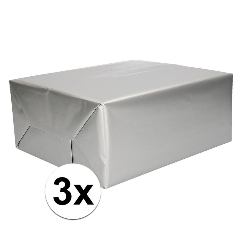 3x Inpakpapier/cadeaupapier zilver 200 x 70 cm op rol