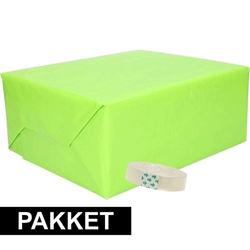 3x inpakpapier lime met rolletje plakband