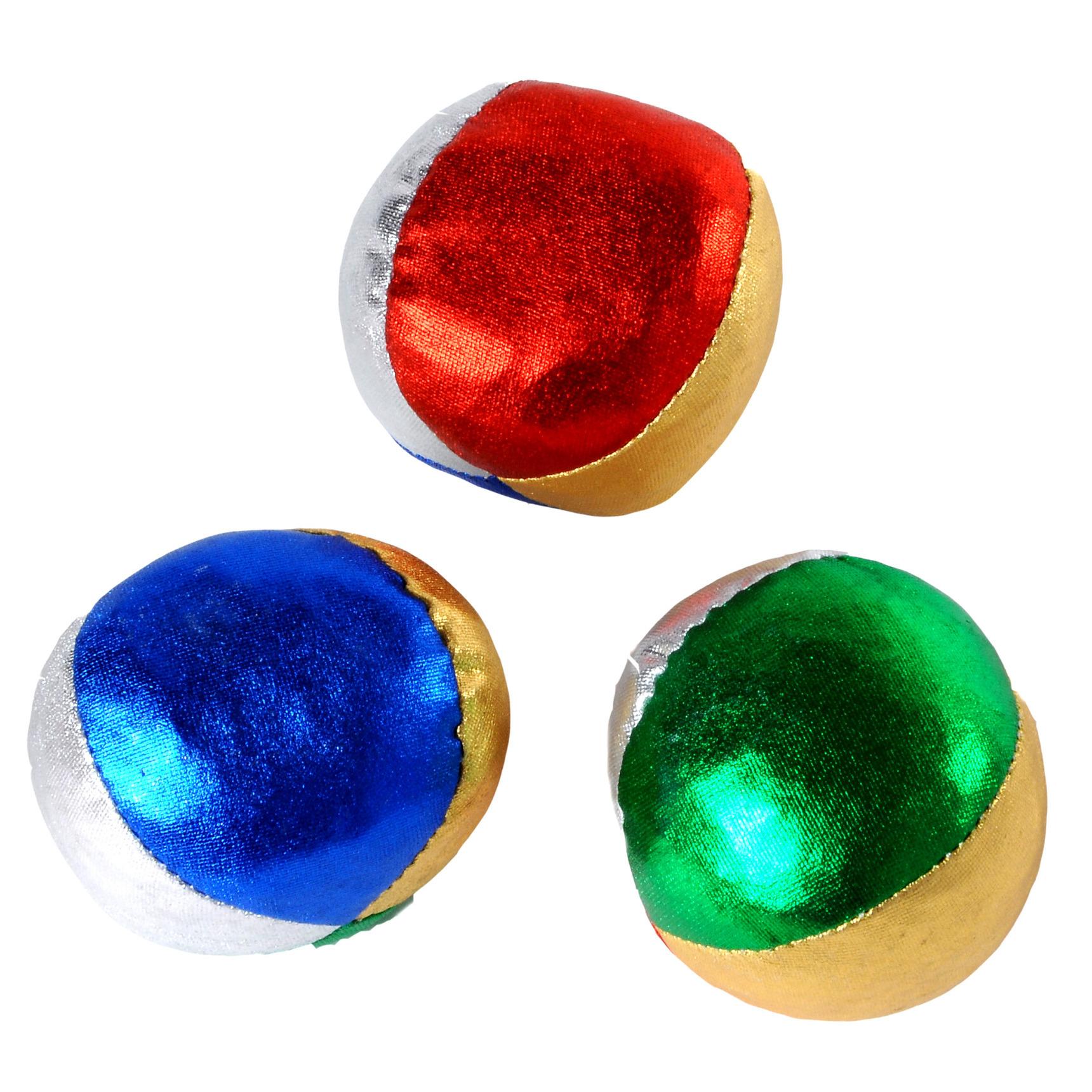 3x Jongleerballen gekleurd metallic speelgoed