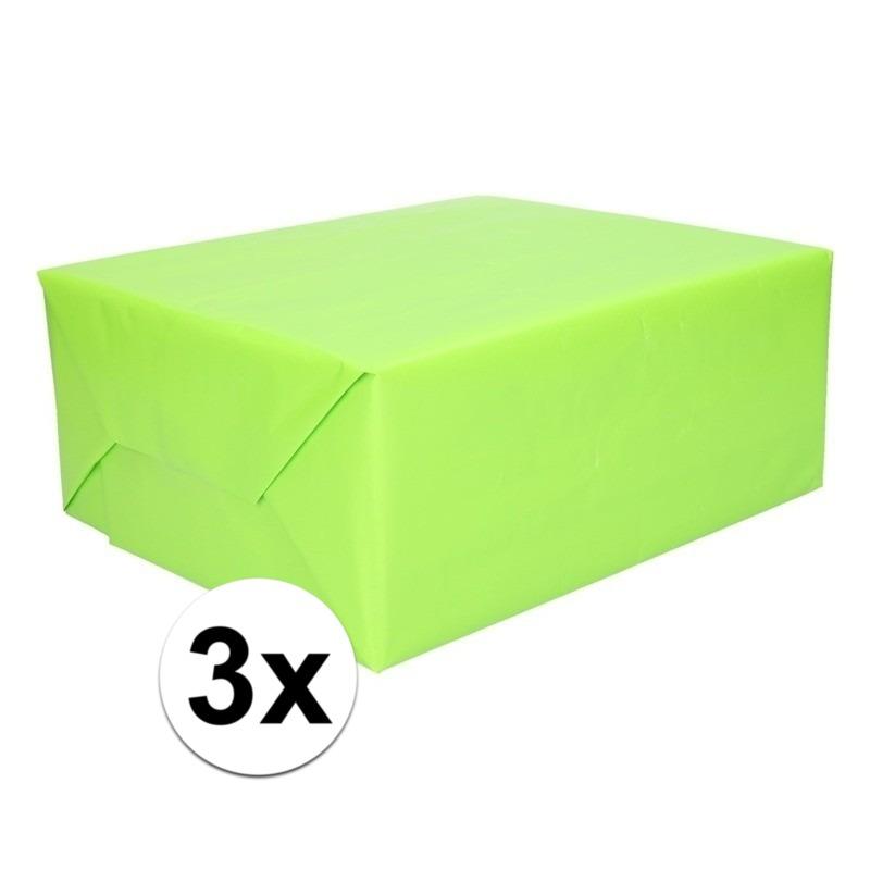3x Kadopapier lime groen 200 x 70 cm op rol