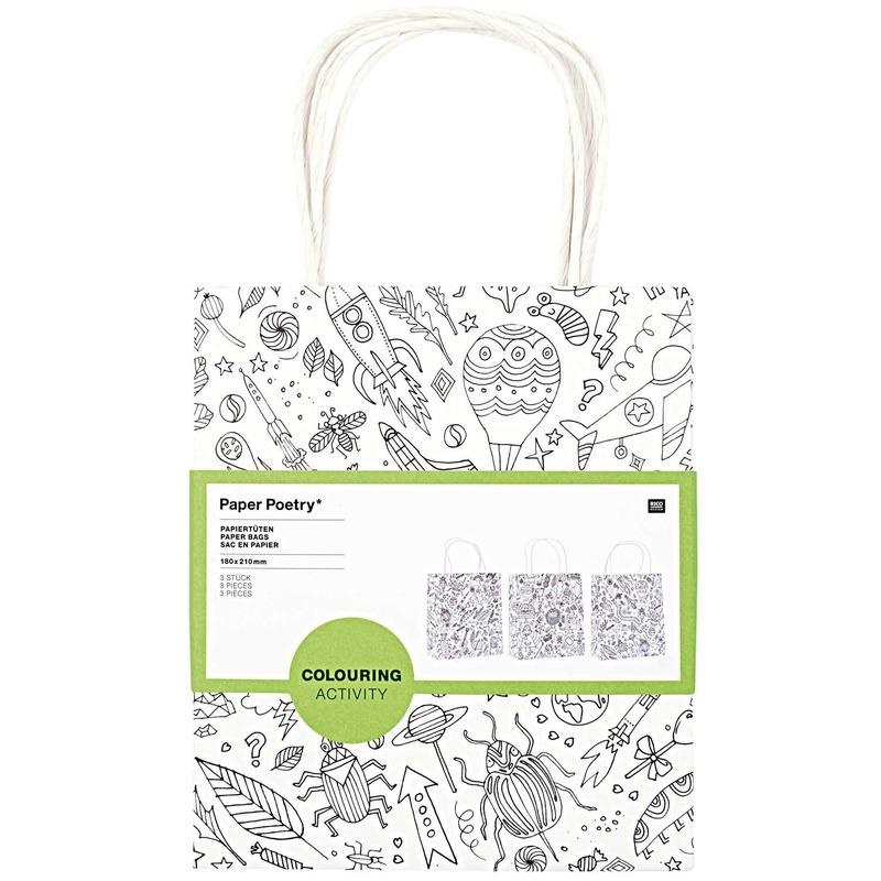 3x Knutsel papieren tassen/tasjes om in te kleuren voor kinderen
