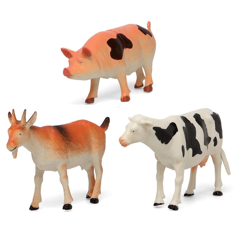 3x Plastic boerderij dieren speelgoed figuren 17 cm voor kinderen