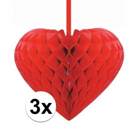 3x Rode decoratie hartjes versiering 15 cm