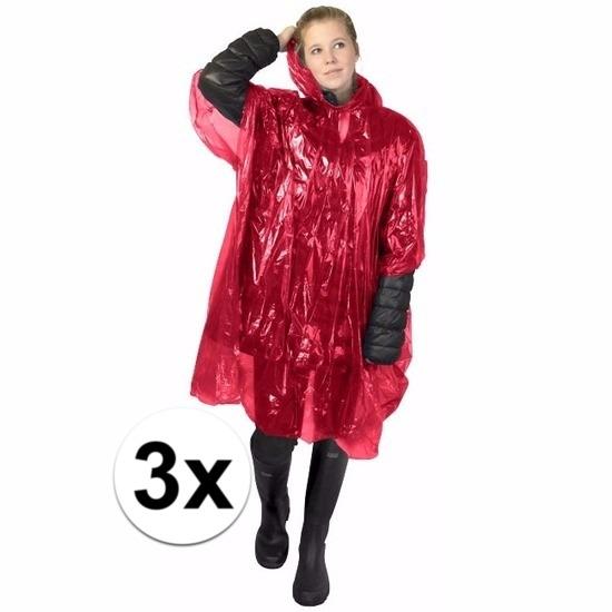 3x rode poncho met capuchon voor volwassenen