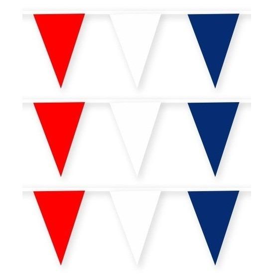 3x Rode/witte/blauwe stoffen vlaggenlijnen/slingers 10 meter