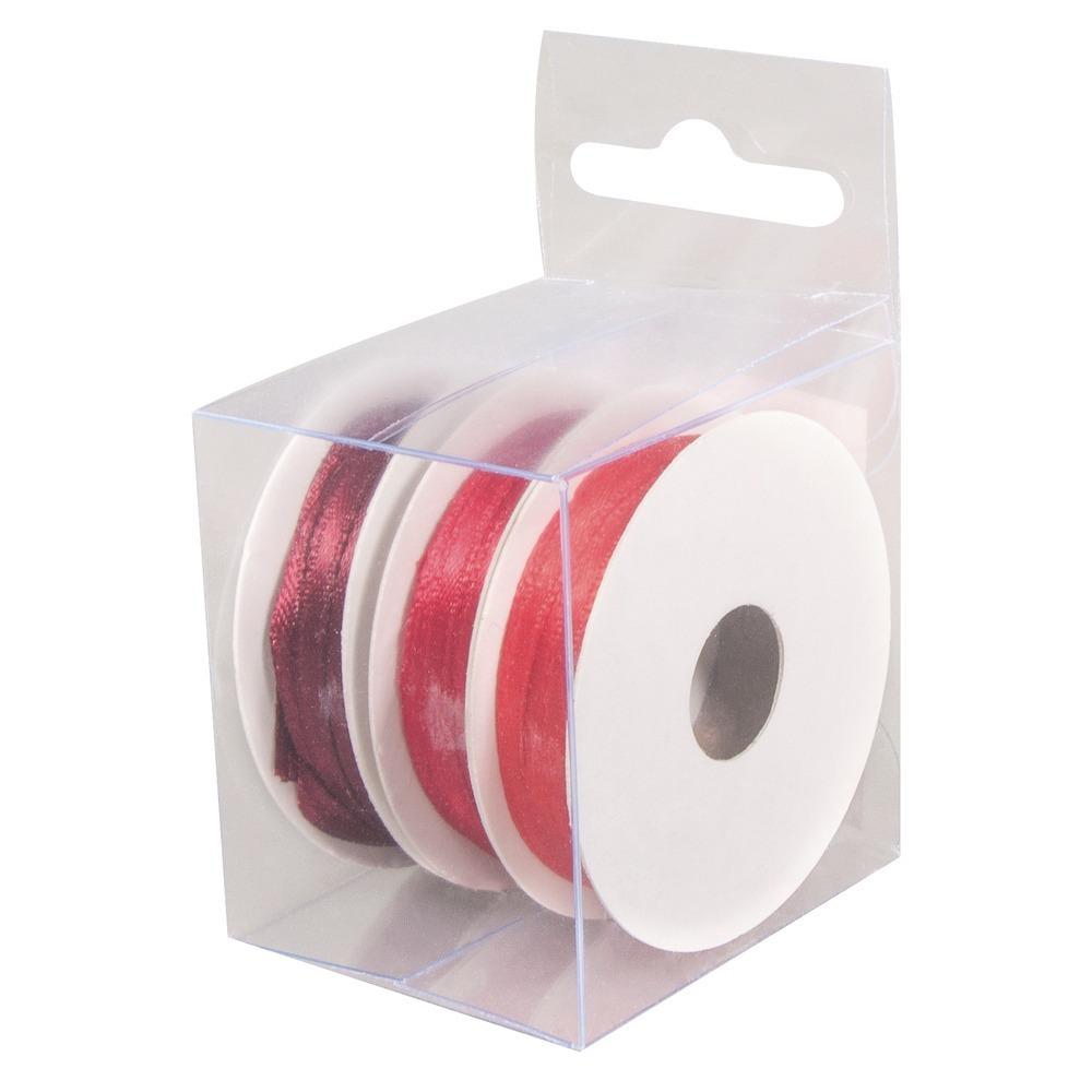 3x Rollen hobby/decoratie kleurenmix rood satijnen sierlint 3 mm x 6 meter