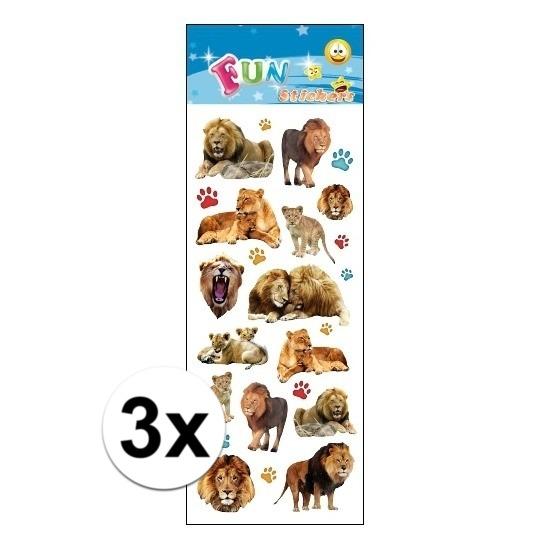 3x Stickervel leeuwen
