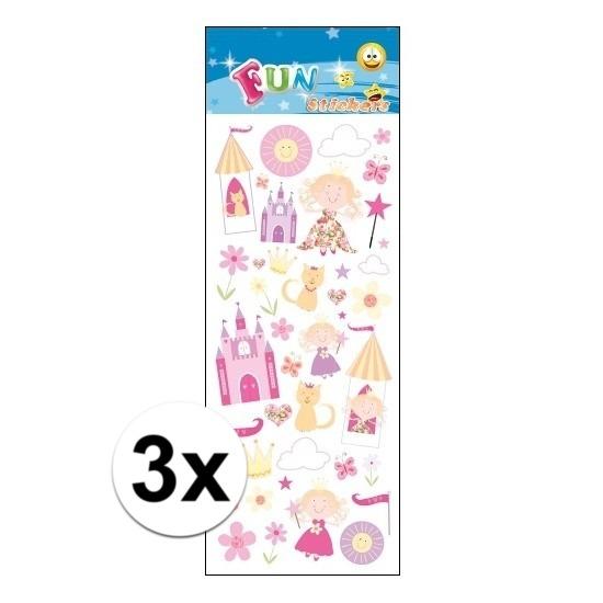3x Stickervel prinsessen