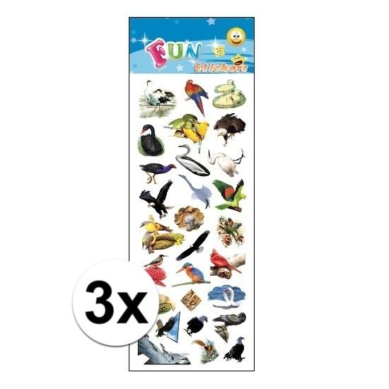 3x Stickervel vogels