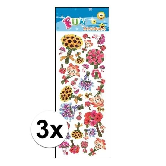 3x Stickervellen bloem boeketten