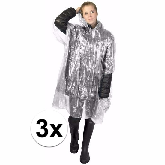 3x transparante poncho met capuchon voor volwassenen