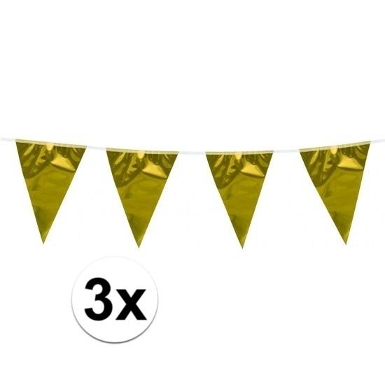 3x Vlaggenlijn goud 10 meter