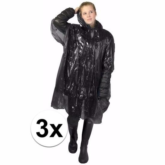 3x zwarte poncho met capuchon voor volwassenen