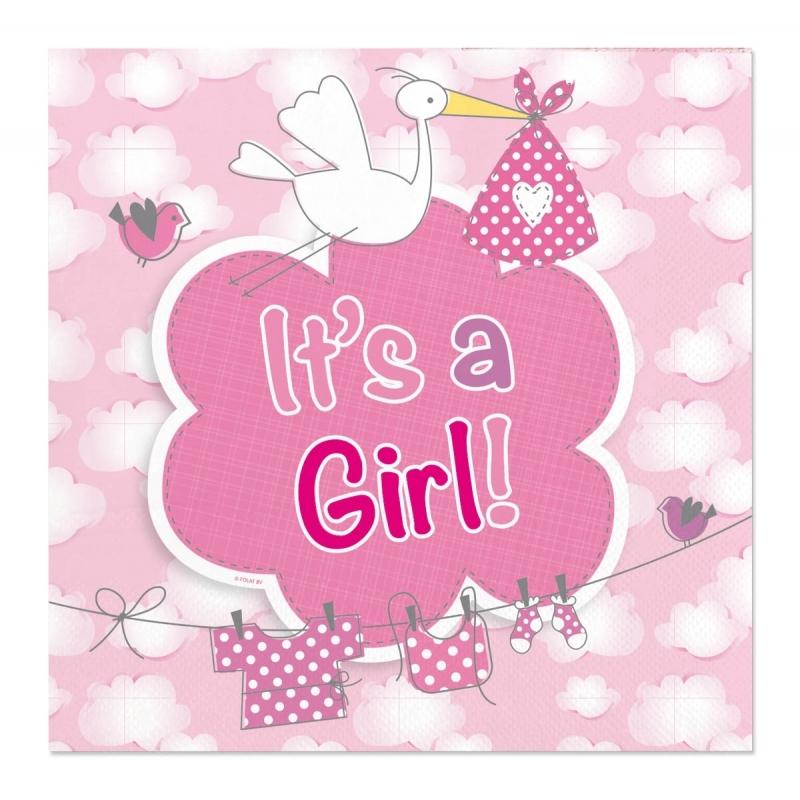 40x Geboorte meisje babyshower servetten roze 25 x 25 cm papier