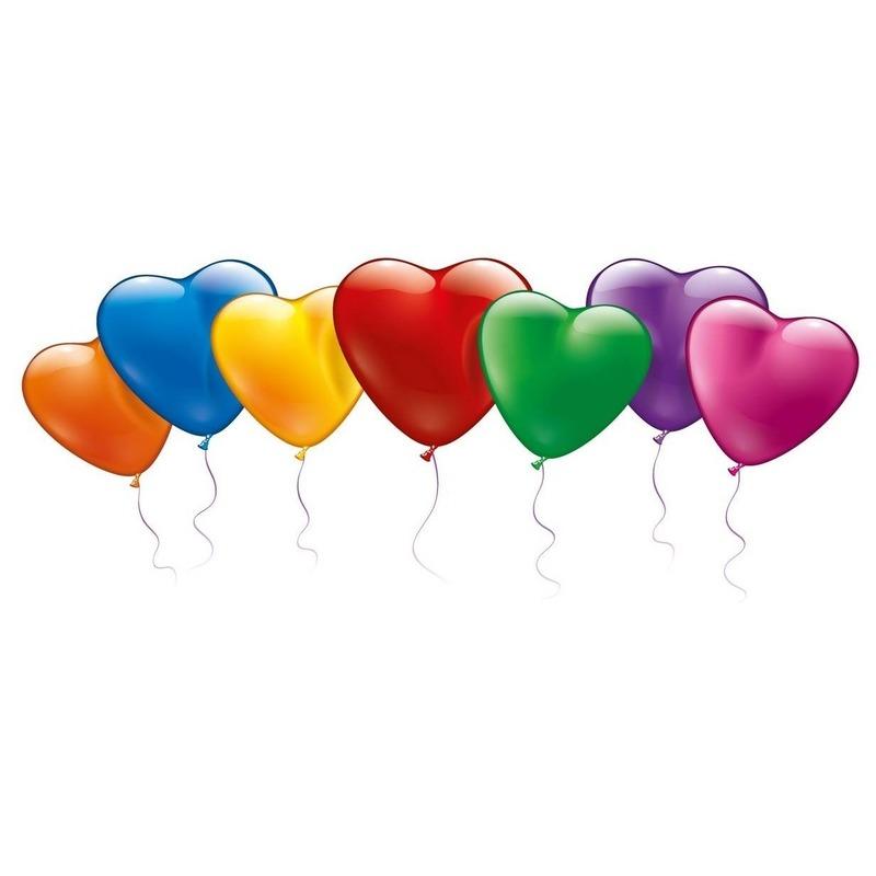 40x vrolijke hartjes ballonnen