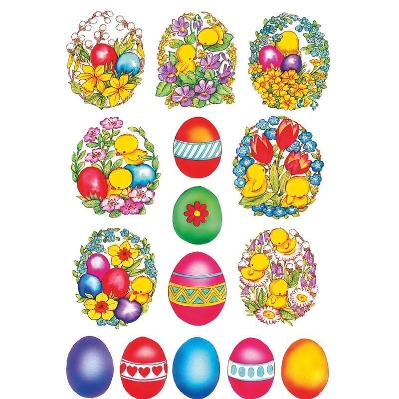 45x Gekleurde paaseieren met bloemen en kuikens stickers