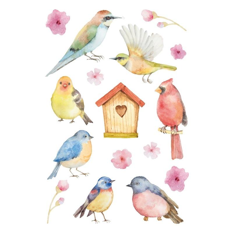 48x Vogels en bloemen stickers