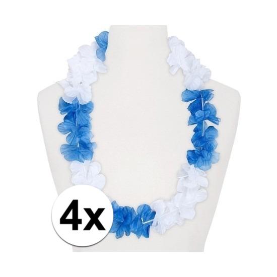 4x Hawaii kransen wit/blauw