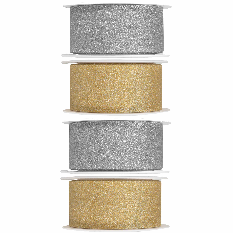 4x Hobby/decoratie zilver en gouden sierlinten met glitters 3 cm/30 mm x 5 meter