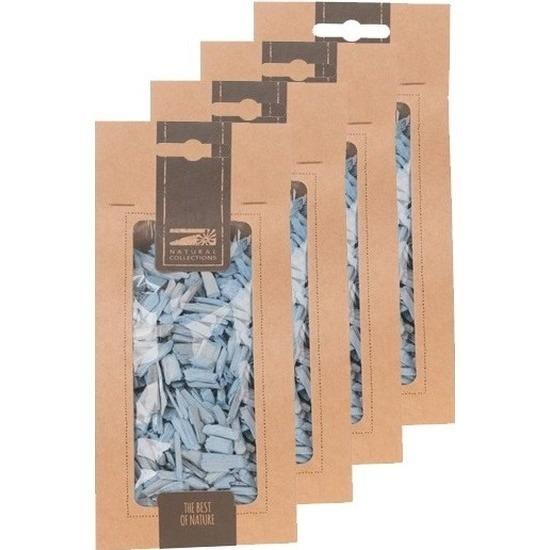 4x Zakje lichtblauwe houtsnippers 150 gram geboorte decoratie