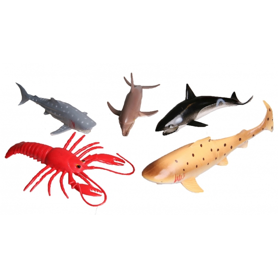 5 delige plastic zee visjes speelgoed set