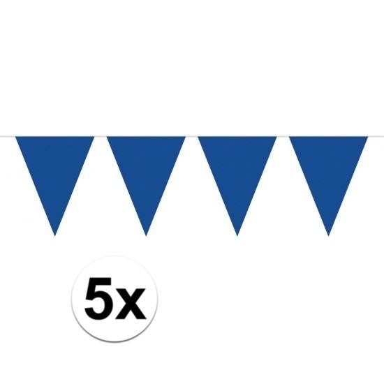 5 stuks blauwe vlaggetjes slinger van 10 meter