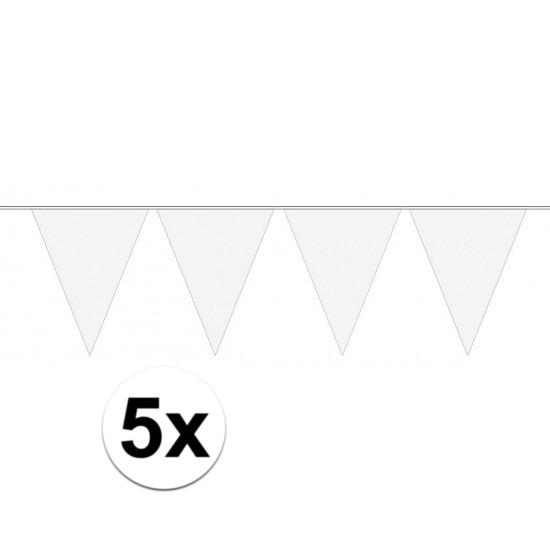 5 stuks witte vlaggetjes slinger van 10 meter