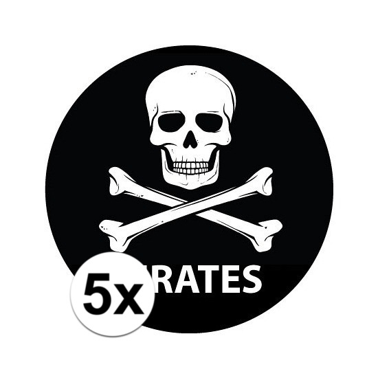 5 stuks zwarte piraten stickers 14,8 cm