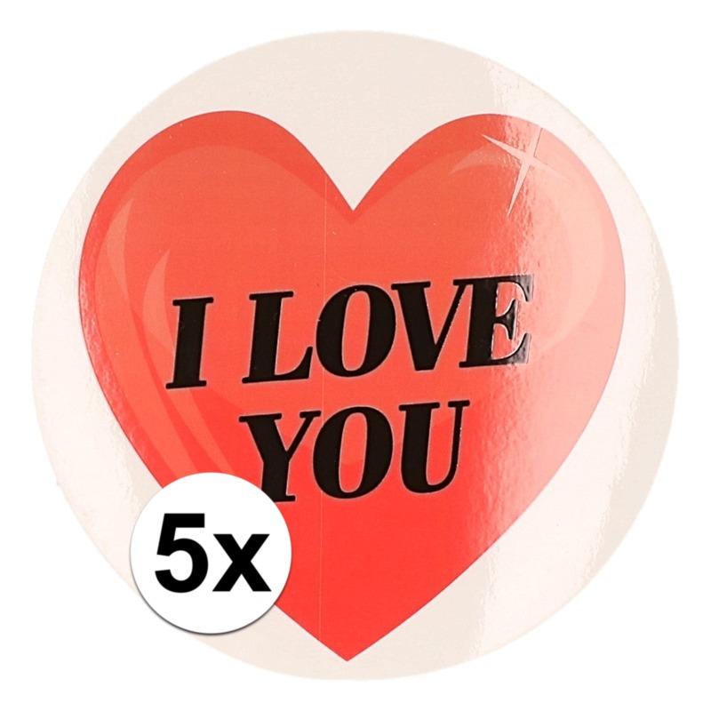 5 x Cadeaustickers I Love You hart 9 cm