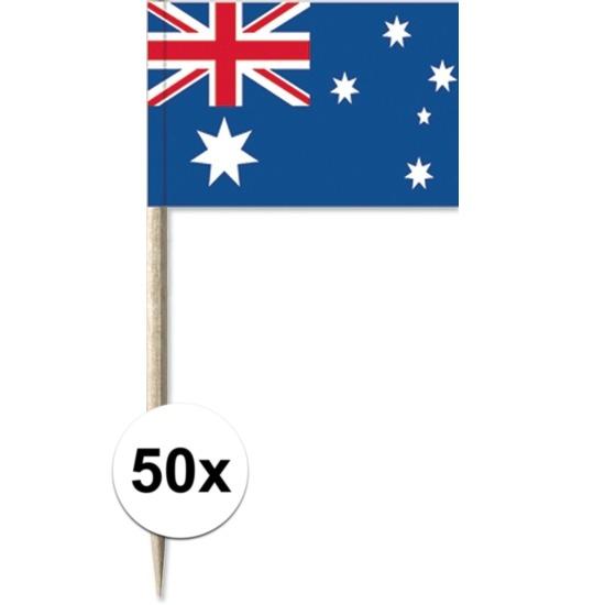50x Cocktailprikkers Australi? 8 cm vlaggetje landen decoratie