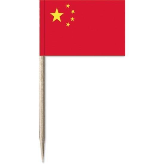 50x Cocktailprikkers China 8 cm vlaggetje landen decoratie